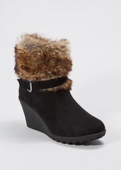 Black Furry Cuff Wedge Bootie