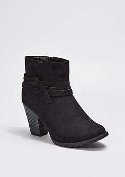 Black Wrapped Faux Suede Bootie