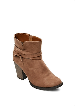 Taupe Wrapped Faux Suede Bootie