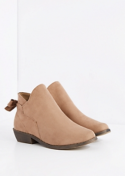 Brown Bow Back Bootie