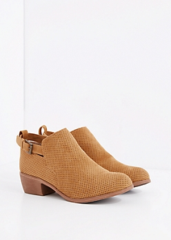 Cognac Perforated & Buckled Bootie