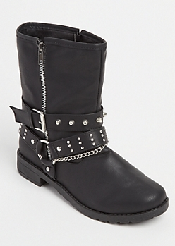 Black Studded Chained Combat Boots