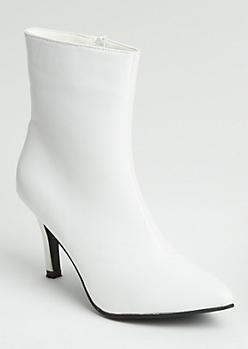 White Faux Leather Stiletto Heel Booties