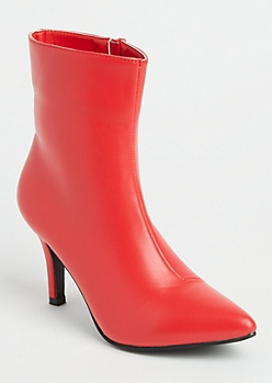 Red Faux Leather Stiletto Heel Booties