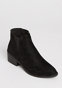 Black Slip On Heeled Bootie