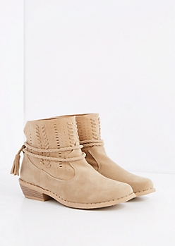 Taupe Stitched Wrap-Around Bootie