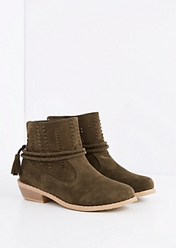 Olive Stitched Wrap-Around Bootie