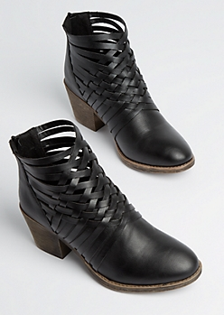 Black Basket Weave Heeled Bootie