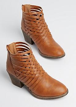 Cognac Basket Weave Heeled Bootie