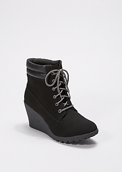 Black Hiking Wedge Bootie