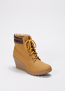 Tan Hiking Wedge Bootie