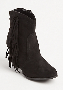 Black Fringed Bootie By Olivia Miller