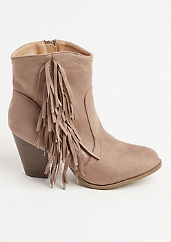 Taupe Fringed Bootie By Olivia Miller