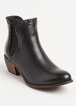 Black Faux Leather Double Gore Boot By Olivia Miller