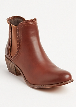 Cognac Faux Leather Double Gore Boot By Olivia Miller