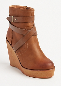 Strappy Wedge Bootie By Olivia Miller