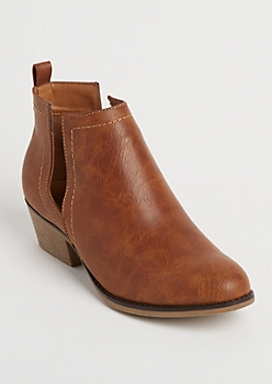Cognac Faux Leather Cutout Bootie By Olivia Miller