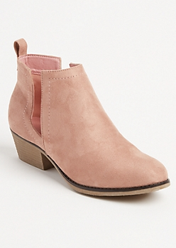 Pink Faux Suede Cutout Bootie By Olivia Miller