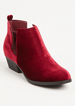 Burgundy Velvet Cutout Booties By Olivia Miller