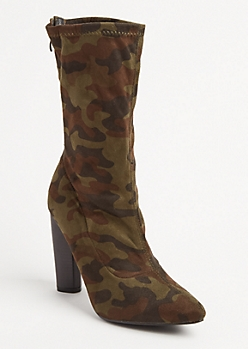 Dark Camo Heeled Bootie By Olivia Miller