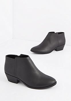 Black Vegan Leather Stacked Heel Bootie