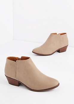Taupe Mock Suede Stacked Heel Bootie