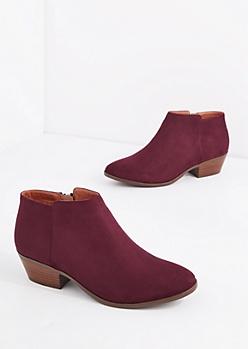 Burgundy Mock Suede Stacked Heel Bootie