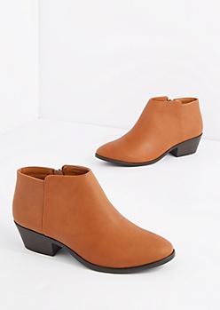 Tan Vegan Leather Stacked Heel Bootie
