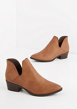 Brown Zip Accent Bootie