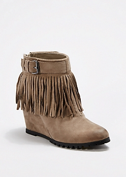 Taupe Fringed Lug Wedge Bootie By Qupid®