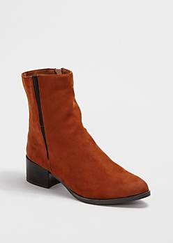Brown Gored Ankle Faux Suede Boot