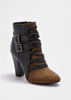 Cross Strap Heeled Bootie By Qupid®