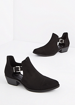 Black Perforated Cutout Bootie