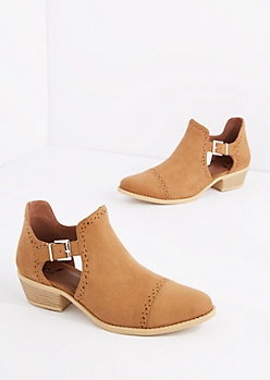 Tan Perforated Cutout Bootie