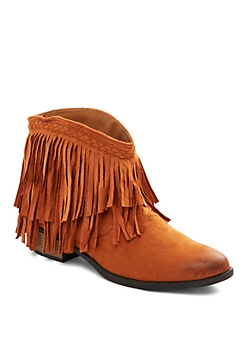 Taupe Fringed Microsuede Bootie