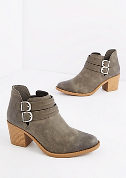 Gray Double Strap Washed Leather Bootie