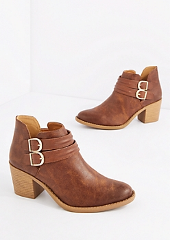 Brown Double Strap Washed Leather Bootie