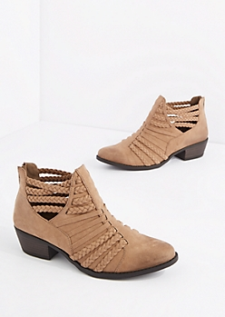 Tan Braided Cage Strap Bootie