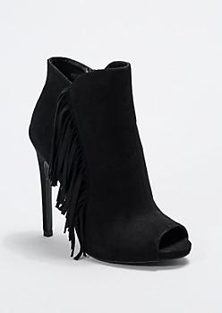 Black Fringed Peep Toe Bootie By Qupid®