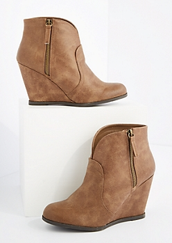 Taupe Vegan Leather Cut Out Wedged Booties By Qupid