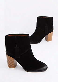 Black Fold Over Mock Suede Bootie By Qupid