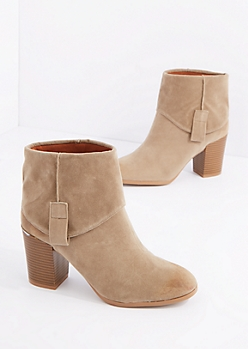 Taupe Fold Over Mock Suede Bootie By Qupid