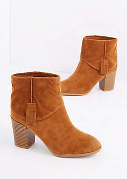 Camel Fold Over Mock Suede Bootie By Qupid