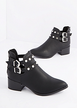 Black Studded Moto Bootie by Qupid