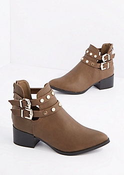 Taupe Studded Moto Bootie by Qupid