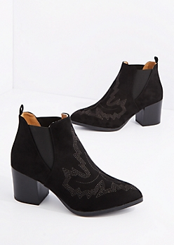 Black Western Stitched Pointed Toe Heeled Bootie By Qupid