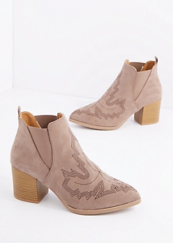 Taupe Western Stitched Pointed Toe Heeled Bootie By Qupid