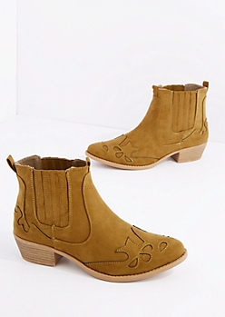 Brown Western Bootie By Qupid