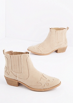 Taupe Western Bootie By Qupid