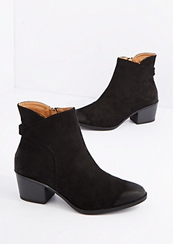 Black Wrapped Mock Suede Bootie by Qupid